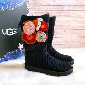 UGG Floral Crochet Pom Pom Knit Boot